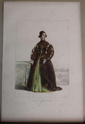 Portugal Portuguese Woman 1840 Devéria Antique Lithographic Fashion Plate