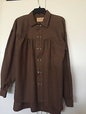 Scully Mens Shirt Med Brown Old West Reenactment
