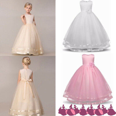 Girls Kids Flower Long Dress Princess Party Wedding Bridesmaid Gown for 4-12 Yrs