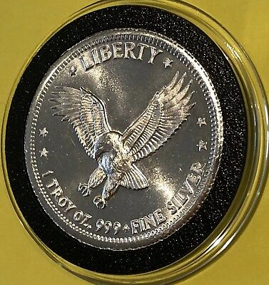 1981 Hoffman Eagle Round 1 Troy Oz .999 Fine Silver Collectible Coin Medal 999