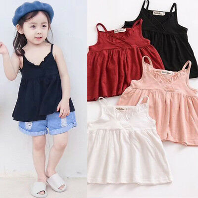 Toddler Baby Kids Girl Cotton Tank Top Dress Top T-shirt Outfit Clothes