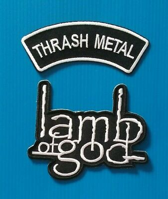 2 LOT LAMB OF GOD THRASH METAL BAND  Easy Iron Or Sewn On Patches Free Ship