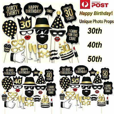 28pcs 30/40/50th Birthday Photo Booth Props Mask Moustache Lips Stick Wedding Pa