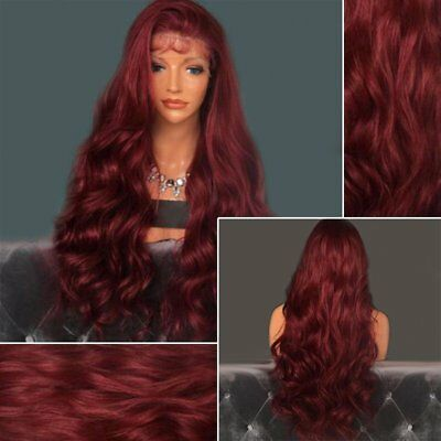 24/26 inch Heat Resistant Lace Front Wig Red Long Wavy High Temperature Wig AU