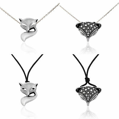 Fox Head 92.5 Sterling Silver Pewter Brass Charm Necklace Pendant Jewelry
