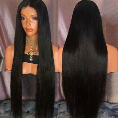 Ultra Long Middle Black Part Straight Synthetic Capless Heat Resistant Wig New