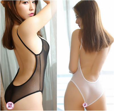 Lady Sheer Bodysuit Bikini Lingerie Nylon transparent Nightwear Jumpsuit Black