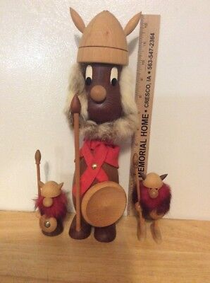 Vintage Wooden VIKING Figures MADE IN DENMARK Mid Century Danish Modern