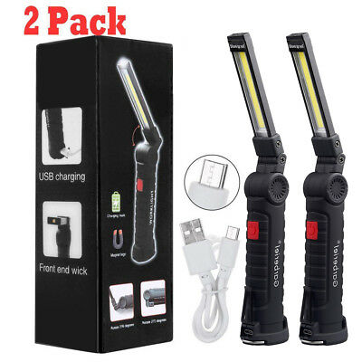Lot Multifunction Flod Rechargeable COB LED Work Light Magnetic Torch Flashlight