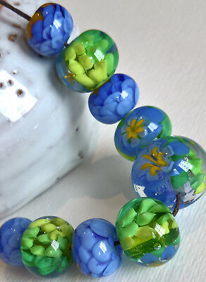 Set perle a lume fatte a mano - vetro Murano glass - 9 Handmade lampwork beads