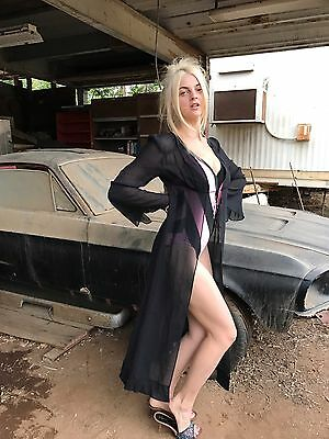 Victoria's Secret Black 100% Silk Long Robe Marilyn pinup rockabilly Vintage S