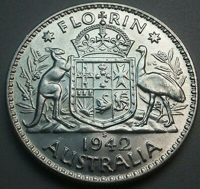1942s KGV1 florin. Great coin. aUNC. #374