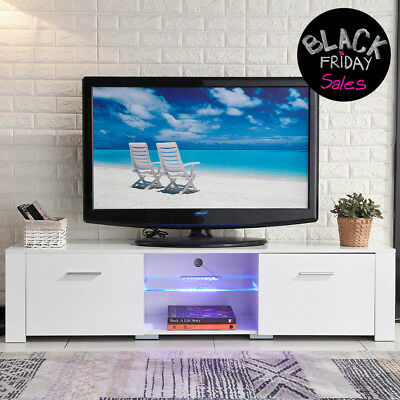 TV Stand High Gloss White Unit Cabinet with LED Light Shelves 2 Drawers Console