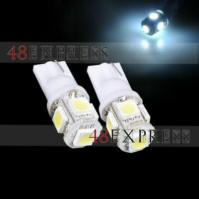 2x T10 5050 W5W 5 SMD LED White Car Side Wedge Tail Light Lamp Bulb DC 12V New
