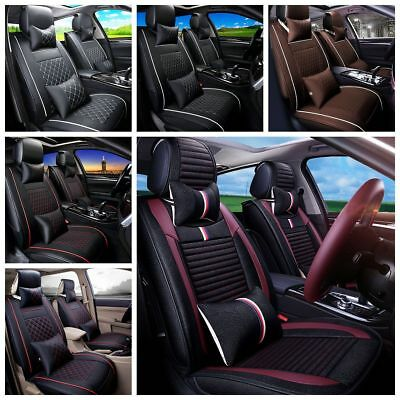 Deluxe Universal 5 Seats Car PU Leather Seat Cover Cushion Front Rear + Pillows