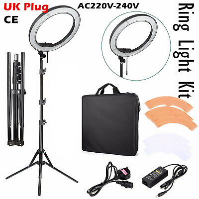 """18"""" Dimmable LED Ring Light Flashes Kit + Light Stand for Photo Video Camera UK"""