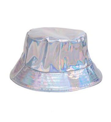 161cdbb4401 HOLOGRAPHIC Metallic SHINY GOLD SILVER BUCKET SUN HAT PARTY FESTIVAL Raves  Clubs