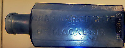 Antique Early Cobalt Blue 1870S Bishops Granular Citirate Of Magnesia Bottle