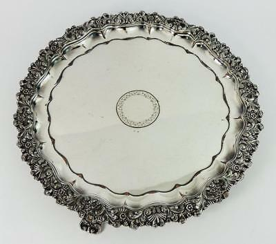GEORGE IV OLD SHEFFIELD PLATE WAITER TRAY c1820 Floral Design Silver Shield