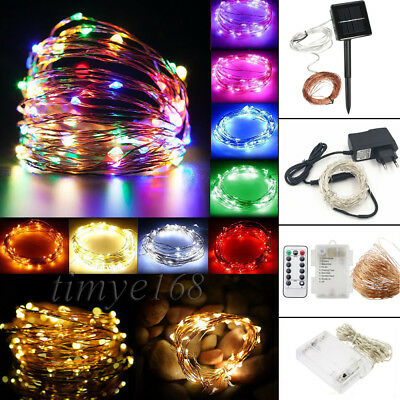 2M-50M Battery/ Solar/ Electric LED Silver Copper Wire Party Fairy String Lights