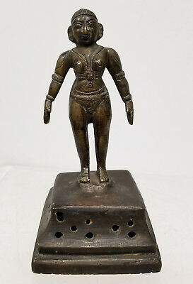 Antique Indian Cast Bronze Deity Hindu Buddhist Figure Bell Statue Lost Wax