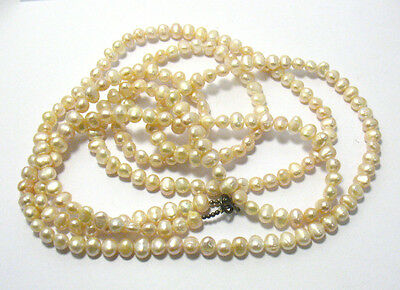 """Champagne Pearl Necklace Opera Length String Strand 60"""" Long"""
