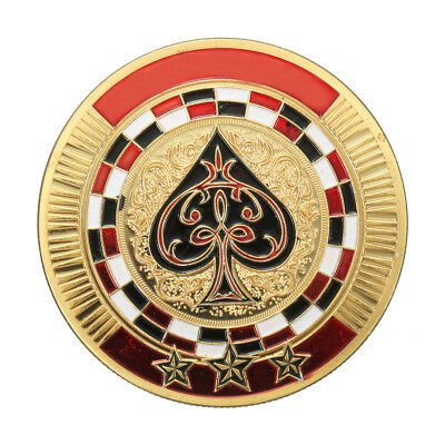 Protector Coin Chip Metal Poker Guard Card Gold Plated + Round Plastic Case