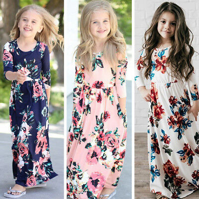 Kids Girls Long Sleeve Floral Maxi Dress Inafant Outfit Boho Party Dresses