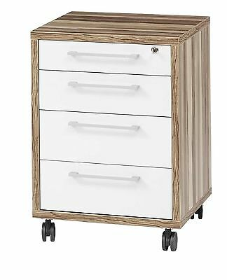 High Gloss Lockable Office 4 Drawer File Storage Cabinet White Gloss Drawers