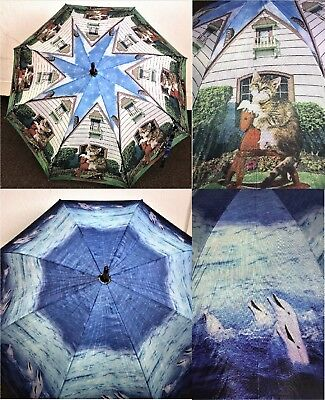 Ladies Umbrella with Wooden shaft & handle Automatic opening Cat & Dolphin