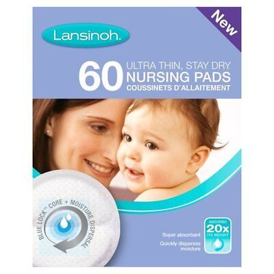 2 X Lansinoh 60 Ultra Thin,Stay Dry NURSING PADS, Super Absorbent TOTAL 120 PADS