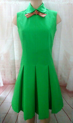 Vintage Fashioned by Patty Dress Green Box Pleats Red Plaid Neck Tie Zip Back