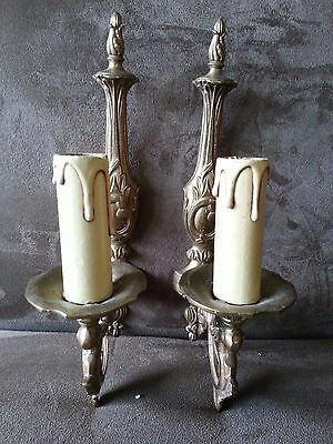 Pair Vintage French Glided Brass Or Bronze  Sconces!