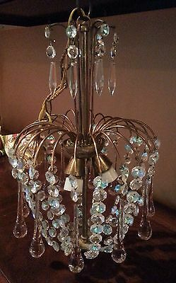 French Vintage Crystal & Glass Pendants & Drops Chandelier From France