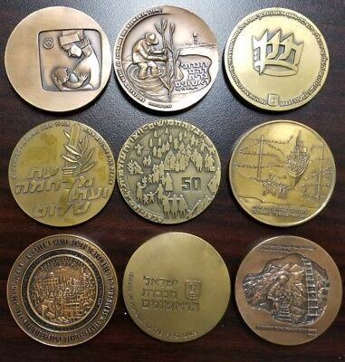 Lot of Different Beautiful 9 State of Israel 60mm Bronze Medals
