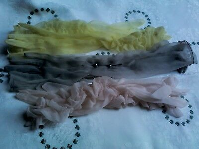 3 X Pairs Of Vintage Long Gloves:- Pale Yellow,pale Pink And Pale Grey