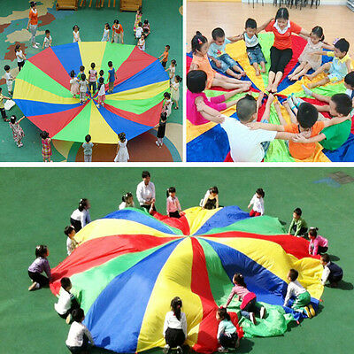 Kids Childrens Play Rainbow Parachute Outdoor Game Family Exercise Sport Toy Fun