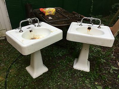 Antique Vintage Porcelain Bathroom Pedestal Sink - one matching pair available