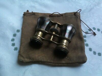 An Antique/vintage Pair Of Opera Binoculars With Clothe Bag