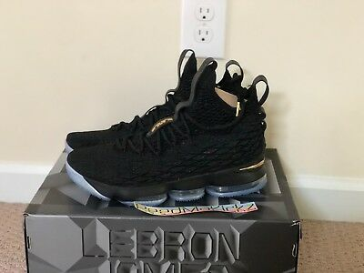 7c1cc8d9749a1 NIKE LEBRON 15 XV Black Metallic Gold Mens sizes 897648 006 ...