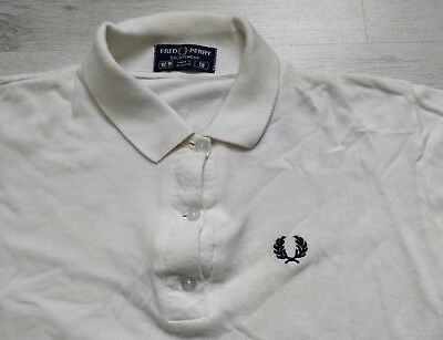 Original Vintage Womens Fred Perry White Polo Top Tennis Mod 1980s 80s