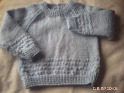 Hand Knitted Baby's Blue Jumper Size 6-9 Months.