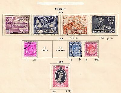 British Singapore Stamps 1949-69 on 7 album pages Used /MH Cat.$81