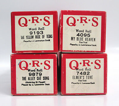 Lot of 4 QRS Word Rolls 9193 4095 9879 7482 Player Piano Roll J Lawrence Cook