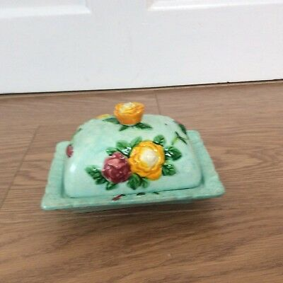 Klimax Hand Painted Flower Decorated  Butter/ Cheese Dish