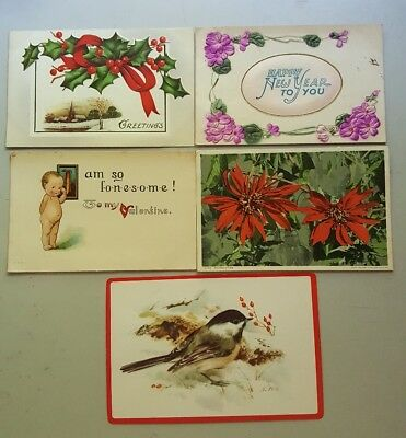 Vintage Postcards lot of 5 hoildays from 1912  (A4)