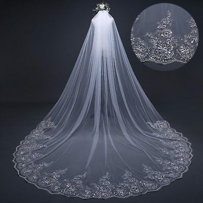3M*3M Long Cathedral Applique Edge Lace Bridal Wedding Veil Short Veil With Comb