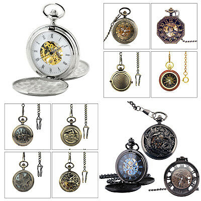 Retro Antique Pocket Watch Skeleton Mechanical Watch Necklace Chain Gift