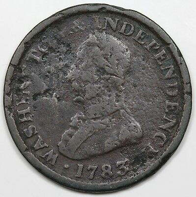 1783 Washington & Independence Token, Large Military Bust, F detail