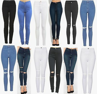 New Womens High Waisted Skinny Jeans Ripped Jeggings Ladies 6 8 10 12 14 16 18